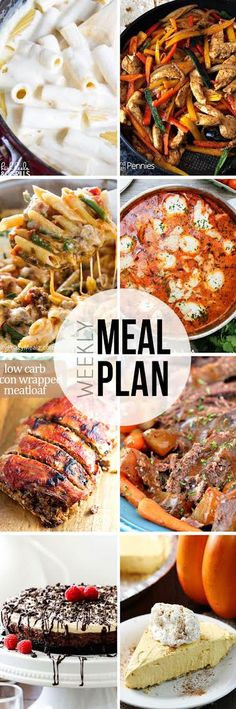 Easy Meal Plan #20 - Easy dinner recipes ideas. Includes two desserts and a weekend breakfast as well!
