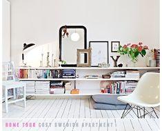 shelves. white floor.