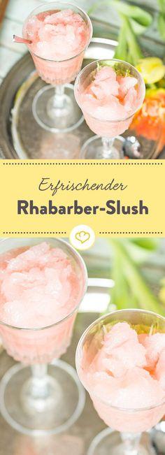 Achtung Gehirnfrost: Eisiger Slush mit Rhabarber-Geschmack - die frostige Erfrischung aus frisch eingekochtem Rhabarber, direkt aus dem Gefrierfach.