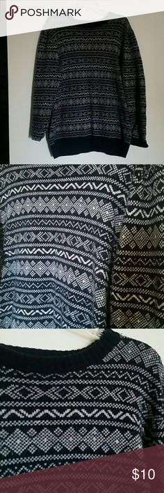 """Old Navy Sweater Cute """"old man"""" sweater from Old Navy. It looks black. But this is really navy blue and white. Great condition. Old Navy Sweaters Crew & Scoop Necks"""