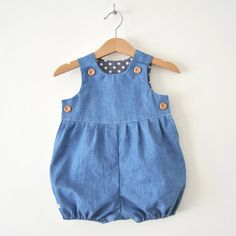 Babies Blue Denim Romper Suit Baby girl boy onesie by KhuduKids Baby Outfits, Kids Outfits Girls, Baby Girl Dresses, Romper Suit, Baby Jumpsuit, Denim Romper, Denim Jumpsuit, Boy Onesie, Baby Bodysuit