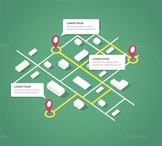Isometric city map design elements by turbodesign on Creative Market