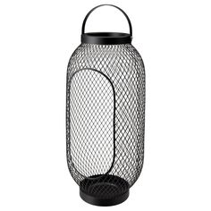 IKEA - TOPPIG, Lantern for block candle, black, The warm light from the candle shines decoratively through the pattern on the lantern. Use only 1 block candle with a max. height of 25 cm and a max. diameter of 8 cm.