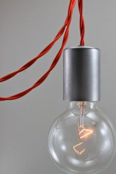 from scandalaskan (etsy) - love these! Raw Steel Red Modern Bare Bulb Pendant Light - Simple Edison Contemporary Light Fixture - Minimalist Hanging Lamp - Ceiling Swag Lighting