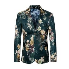 2018 Fashion Mens Printed Blazers Casual Slim Fit Prom Dress Blazer Men  Green Floral Stage Wear 779ea8a8302