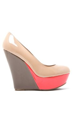 Basic needs in life: food, water, shelter, these shoes. Cilo 88 Colorblock Patent Wedge