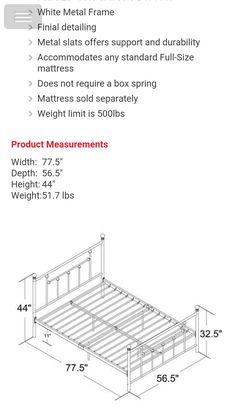 Steel Bed Frame, Full Size Mattress, Beds, Metallic, Iron, Furniture, Ideas, Canopy Beds, Metal Beds
