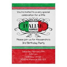 Italian Bambino (D) Birthday Party Invitation
