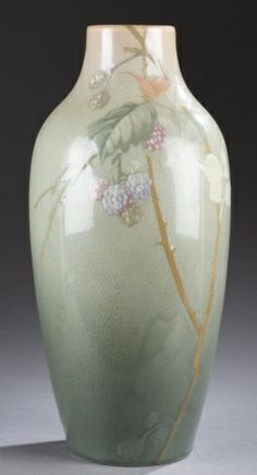 "Owens Large Vase High GlossAn Owens vase designed by Walter Denny. Possible ""lotus"" line with raspberry bush design. Impressed OWENS 1245. 1..."