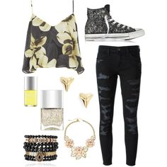 Glitter bomb by jirinkaskalkova on Polyvore featuring polyvore fashion style Topshop Current/Elliott Converse Samantha Wills Gemma Simone ki-ele Nails Inc.