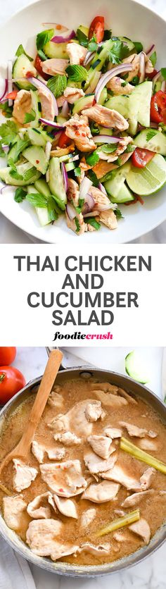 My favorite Thai flavors are lightened up in this chicken and cucumber salad with almond coconut blend almond milk subbing in for full-fat coconut milk | foodiecrush.com