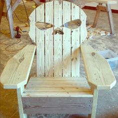 Skull  Adirondack chair. Hand crafted skull Adirondack Chair. Custom made. Can be assembled or save in shipping and you can assemble yourself with easy instructions and a power drill. Cool for a man cave or a great conversation piece. A motorcycle lovers dream chair. This is well made and used quality wood. Can be stained or painted any color. Other