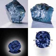 Before... After - A truly rare 29.62 ct blue diamond found at the Cullinan mine in Jan. 2014 by Petra Diamonds was sold for US$25,555,543 to Cora International NY ///// 'THE BLUE MOON'. Now 'THE BLUE MOON OF JOSEPHINE'. An exceptional Fancy Vivid Blue diamond ring. The cushion-shaped fancy vivid blue diamond weighing 12.03 cts, mounted as a ring, size 471/2. Estimate 34,083,378 - 53,516,883 USD // LOT SOLD 48,468,158 USD. GIA / Fancy Vivid Blue, Natural Colour, IF, Type IIb [S. GE. 11 NOV…