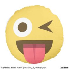Silly Emoji Round Pillow