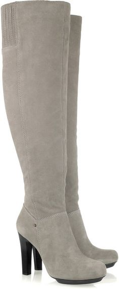* Dkny Iris Suede Thigh Boots in Gray