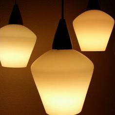 New! Beautiful PHILIPS 50s milk glass & wood pendant light - Chandelier