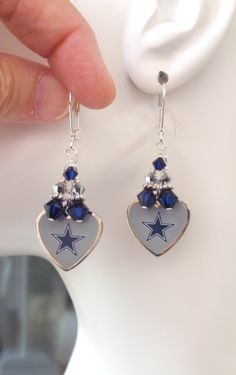 Dallas Cowboys Earrings, Cowboys Bling, Navy and Silver Crystal Earrings, Pro Football Cowboys Jewelry Accessory Fanwear by scbeachbling on Etsy