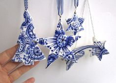 Set of 4 Christmas Decorations Delft by Harrietsblueandwhite
