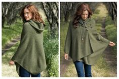 A hooded wool cape in a gorgeous green.  Image from The Pendleton Threads blog