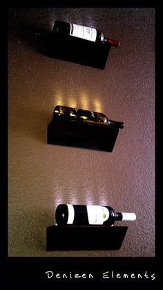 Easy DIY. LED Wine Bottle Display with floating shelves and led stick.