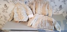Beautiful Aran jumper with matching pompom hat, really soft top quality yarn ,this would make a beautiful heirloom Aran Jumper, Baby Uggs, Girls Jumpers, Knit Baby Booties, Knitted Flowers, Baby Hands, Flower Hats, Pom Pom Hat, Beautiful Hands