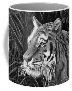 Tiger Portrait Coffee Mug for Sale by Faye Anastasopoulou - Tiger Coffee Mug featuring the drawing Tiger Portrait by Faye Anastasopoulou - Fusion Art, Royal Beauty, Ocean Scenes, Mugs For Sale, Artist At Work, Animal Drawings, Animal Photography, Colorful Backgrounds, Coffee Mugs