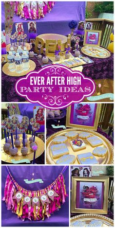 A gorgeous Ever After High girl birthday party in rich jewel tones with decorated cake pops and cookies!  See more party planning ideas at CatchMyParty.com!