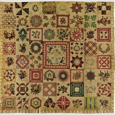 Album Quilt Possibly Sarah Morrell (dates unknown) and others Location: Pennsylvania and New Jersey Date: 1843 Materials: Cotton and ink with cotton embroidery Dimensions: 93 1/4 × 95 1/4""