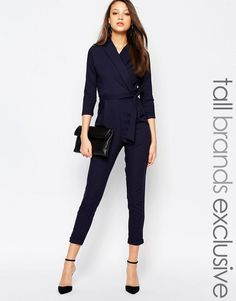 Alter Tall | Alter Tall Tailored Cropped Jumpsuit With Wrap And Tie Belt Detail at ASOS