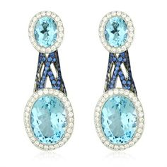 Asprey 18K White Gold Blue Topaz Sapphire Diamond Drop Earrings