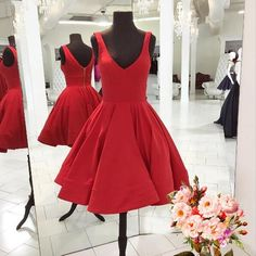 Red Sleeveless Straps Knee Length Homecoming Dress,A Line Party Gowns,Simple Short Prom Dress,2017 red homecoming dress