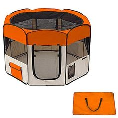 60 Pet Dog Kennel Fence Soft Playpen Exercise Folding Crate WBag Zip Orange ** Want to know more, click on the image.