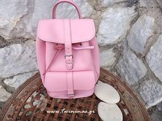 Twininas handmade greek genuine leather backpack in pink color. Also available in royal blue and pistachio-mint color. Small Backpack, Backpack Purse, Leather Backpack, Fashion Backpack, Leather Bags, New Bag, Jewelry Accessories, Handmade Jewelry, Backpacks