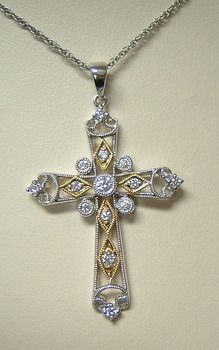 Amazing Grace describes this amazing white and yellow gold diamond pendant.  Style 160-575