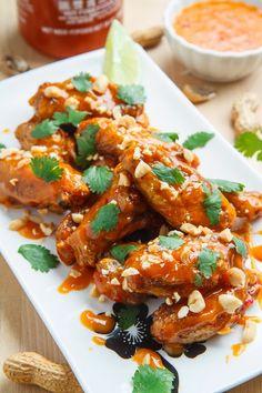 Crispy Baked Peanut Sweet Chili Chicken Wings