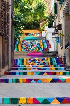 Rainbow street art steps in Beirut, Lebanon