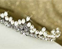 Wedding Tiara. Silver Bridal Tiara. Freshwater Pearl by MARTALILY, £98.00