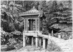 [김영택 화백의 세계건축문화재 펜화 기행] 석파정 안 유수성중관풍루 - 중앙일보 뉴스 Building Sketch, Old Building, Korean Painting, Chinese Garden, Pen Sketch, Korean Art, Urban Sketchers, Ancient China, Old Photos