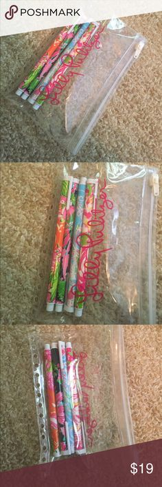 Lilly Pulitzer Gel Pens and Pencil Pouch The gel pens are different prints and colors of ink. Each have only been used once and are in great condition despite the print peeling a little on Jellies Be Jammin as seen in the photos. Comes with Lilly Pulitzer pencil pouch to fit inside any Lilly Pulitzer Agenda! Lilly Pulitzer Accessories