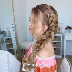 Dutch Side Braid tutorial # types of Braids simple Dutch Side Braid tutorial Front Hair Styles, Medium Hair Styles, Dutch Side Braid, Easy Side Braid, Side French Braids, Braided Buns, French Twists, Hair Style Vedio, Side Braid Tutorial
