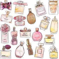 Mini Parfum, Parfum Miss Dior, Bottle Drawing, Beauty Illustration, Foto Art, Aesthetic Stickers, Elie Saab, Fashion Sketches, Cute Stickers