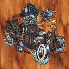 Rat Racer Hot Rod Art Print by Pheckart on Etsy Rat Fink, Monster Car, Cool Monsters, Lowbrow Art, Car Drawings, Pinstriping, Automotive Art, Cartoon Art, Caricature