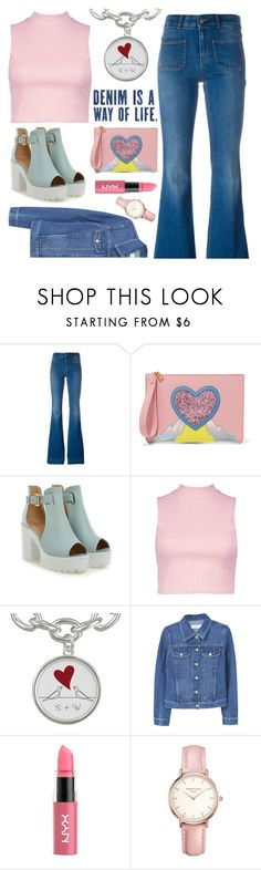 """""""Flared Jeans"""" by pure-vnom ❤ liked on Polyvore featuring STELLA McCARTNEY, Sophie Hulme, Boohoo, MANGO, NYX and Topshop"""