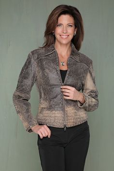Rusty Spur Couture Cripple Creek Distressed Studded and Stitched Leather Jacket Dark Sand - LL83218, ,