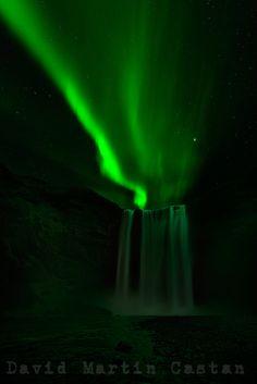 Skogafoss, Aurora, Iceland by David Martín Castán