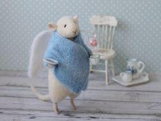 Angel Mouse Felted mouse White Mouse Needle by MimimishHandmade