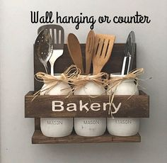 Rustic Country Kitchen, Rustic Home Decor, Rustic Wood Decor, Mason Jar Decor, Kitchen Decor, Country Kitchen, Kitchen Untensils, Country