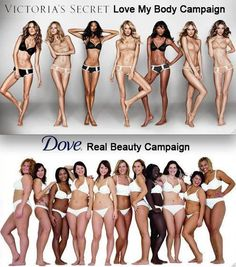 """This photo challenges you as a viewer to compare what society deems as """"correct beauty"""" and """"real beauty"""". In the top photo are models that social constructions have deemed beautiful; below are models that are based on the average woman and to see the comparison really makes you think about how society's expectations aren't necessarily correct."""