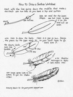 Easy Drawings How To Draw A Feather, Free Worksheet - The free how to draw worksheet at the bottom of this post and the project notes below may be printed by highlighting them and sending them to your printer or saving to your device and printing later. Drawing Lessons, Drawing Techniques, Drawing Tips, Drawing Tutorials, Art Tutorials, Art Lessons, Painting & Drawing, Painting Tutorials, Feather Drawing