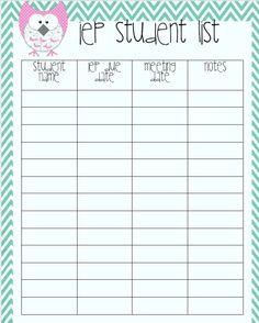 Ways to keep organized: IEP Student List @[simply speech.]